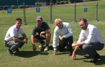 Todd Woodbridge joined groundskeeper Shayne Ried, Northern Territory Minister for Sport Gary Higgins and Tennis NT Manager Sam Gibson at the grass courts at Marrara Sports Complex today.