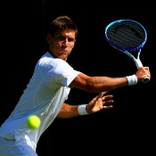 Matt Ebden in action during his first-round victory over Blaz Rola at Wimbledon; Getty Images