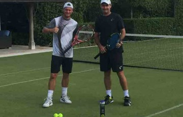 Jaymon Crabb is helping Lleyton Hewitt prepare for Wimbledon; supplied