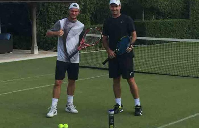 Jaymon Crabb is helping Lleyton Hewitt prepare for Wimbledon; supplied