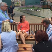 Jarmila Gajdosova (centre) chats to the media
