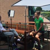 Sam Stosur (R) chats to Rennae Stubbs