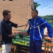 Nick Kyrgios (R) chats to Fox Sports Australia