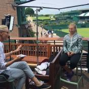 Daria Gavrilova (R) chats to Rennae Stubbs