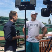 Sam Groth (R) chats to Fox Sports Australia