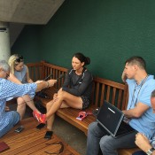 Casey Dellacqua chats to the media