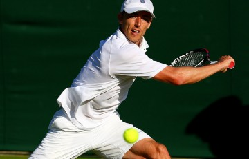 John Millman in action during his straight-sets first-round win over Tommy Robredo at the 2015 Wimbledon championships; Getty Images