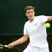 Ben Mitchell in action at Wimbledon 2015 qualifying; Getty Images