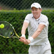 John-Patrick Smith in action during his second-round Wimbledon qualifying victory over Bjorn Fratangelo at Roehampton; Getty Images