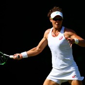 Sam Stosur in action during her first-round Wimbledon victory over Danka Kovinic; Getty Images