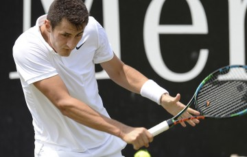 Bernard Tomic in action during his second-round victory over Tommy Haas at the ATP Mercedes Cup in Stuttgart; Getty Images