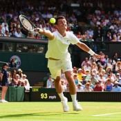 No.27 seed Bernard Tomic made a solid run through to the third round before being stopped by top-ranked Novak Djokovic on Centre Court; Getty Images
