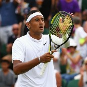 Nick Kyrgios celebrates his four-set win over Milos Raonic in the third round; Getty Images