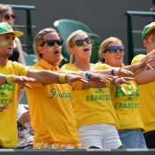 The Fanatics in full voice during Nick Kyrgios' third-round match against No.7 seed Milos Raonic; Getty Images