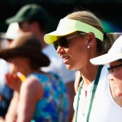 Australian Fed Cup captain Alicia Molik takes in the action at Wimbledon; Getty Images