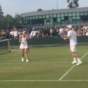 Wildcard combo Casey Dellacqua and Lleyton Hewitt were opening-round winners in the mixed doubles; Jaymon Crabb