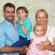 Jaymon Crabb (L) and Bryanne Crabb with their young family; John Anthony