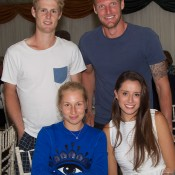 Luke Saville (back left) and Sam Groth (back right) with Daria Gavrilova (front left) and Brittany Boys; John Anthony
