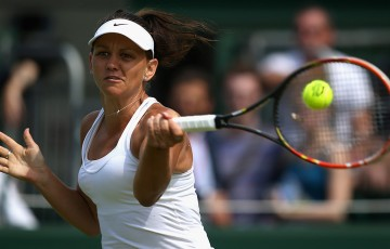 Casey Dellacqua in action during her second-round Wimbledon victory over 17th seed Elina Svitolina; Getty Images