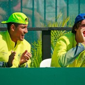 Nick Kyrgios (L) and Thanasi Kokkinakis support Hewitt and Groth during the doubles rubber of Australia's Davis Cup quarterfinal tie in Darwin against Kazakhstan; Getty Images