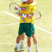 Lleyton Hewitt (L) and Sam Groth celebrate their doubles victory for Australia in the Davis Cup quarterfinal against Kazakhstan in Darwin; Getty Images