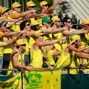 The Fanatics show their support for Lleyton Hewitt during the fifth rubber of the Australia v Kazakhstan Davis Cup tie in Darwin; Getty Images