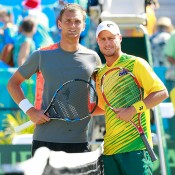 Lleyton Hewitt (R) ahead of his fifth rubber against Aleksandr Nedovyesov (L) in the Australia v Kazakhstan World Group quarterfinal in Darwin; Getty Images