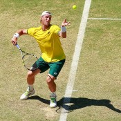 Sam Groth in action during his reverse singles defeat of Mikhail Kukushkin in the Australia v Kazakhstan World Group quarterfinal in Darwin; Getty Images
