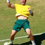 Sam Groth celebrates his reverse singles defeat of Mikhail Kukushkin in the Australia v Kazakhstan World Group quarterfinal in Darwin; Getty Images
