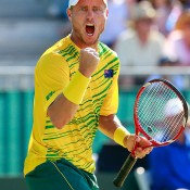 Lleyton Hewitt in action during his fifth rubber defeat of Aleksandr Nedovyesov in the Australia v Kazakhstan World Group quarterfinal in Darwin; Getty Images
