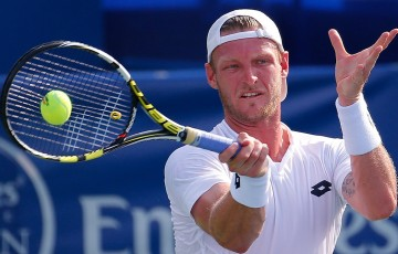 Sam Groth in action during his first-round victory over Frances Tiafoe at the ATP event in Atlanta; Getty Images