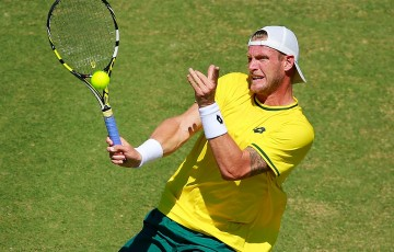 Sam Groth in doubles action for Australia in the Davis Cup quarterfinal against Kazakhstan in Darwin; Getty Images