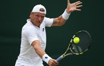 Sam Groth in action during his second-round Wimbledon victory over compatriot James Duckworth; Getty Images