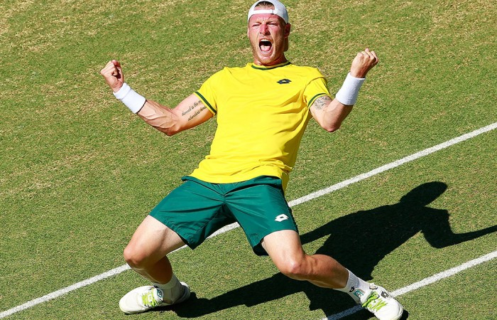 Sam Groth celebrates his victory over Mikhail Kukushkin in the fourth rubber of the Australia v Kazakhstan Davis Cup World Group quarterfinal in Darwin; Getty Images