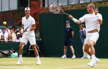Lleyton Hewitt (R) and Thanasi Kokkinakis in first-round Wimbledon doubles action; Getty Images
