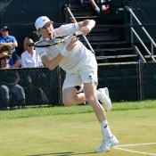 John-Patrick Smith in action during his quarterfinal victory over Tatsuma Ito at the Hall of Fame Tennis Championships in Newport, Rhode Island; photo credit Jennifer Carter