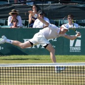John-Patrick Smith in action at the Hall of Fame Tennis Championships in Newport, Rhode Island; photo credit Jennifer Carter