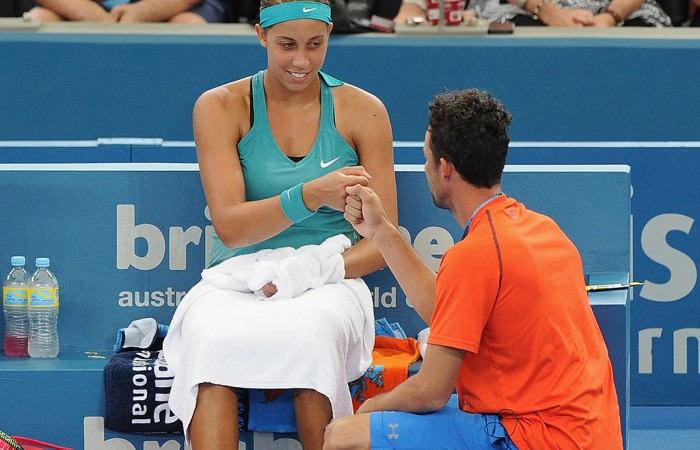 Madison Keys receives on-court coaching during the Brisbane International; Getty Images