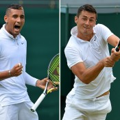 Nick Kyrgios (L) and Bernard Tomic were both straight-sets winners in the second round at the 2015 Wimbledon Championships; Getty Images