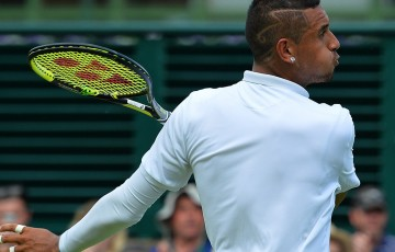 Nick Kyrgios celebrates his second-round victory over Juan Monaco at the 2015 Wimbledon Championships; Getty Images