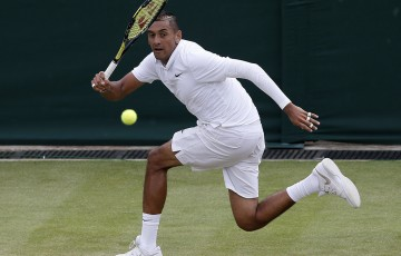 Nick Kyrgios plays a forehand during his four-set loss to 21st seed Richard Gasquet in the last 16 at Wimbledon 2015; Getty Images