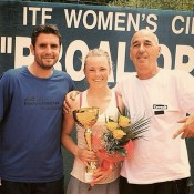 Alexandra Nancarrow holds the trophy after winning the ITF event in Prokuplje, Serbia; photo credit Alexandra Nancarrow, Instagram
