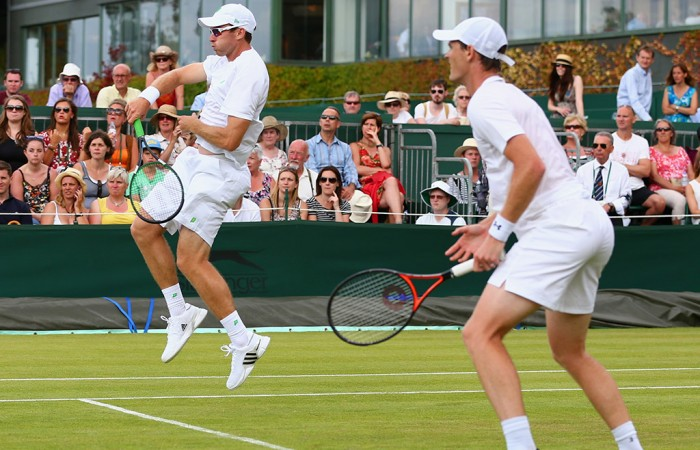 John Peers (volleying) and Jamie Murray in action in the men's doubles event at Wimbledon 2015; Getty Images