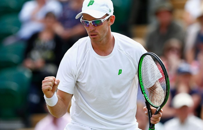 John Peers celebrates a winning point during his quarterfinal victory alongside Jamie Murray in the Wimbledon men's doubles event; Getty Images