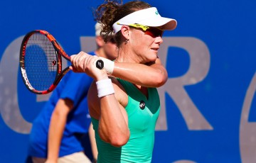 Sam Stosur in action during her second-round victory over Klara Koukalova at the WTA event in Bad Gastein; Matthias Huber