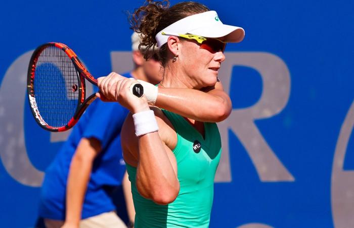 Sam Stosur in action during her second-round victory over Klara Koukalova at the WTA event in Bad Gastein; Matthias Huber