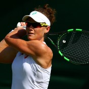 Sam Stosur in action during her first round win over Danka Kovinic at the 2015 Wimbledon Championships; Getty Images