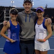 (L-R) Storm Sanders, coach Simon Rea and Jess Moore pose on court after Sanders and Moore won the ITF doubles title in Granby, Canada; courtesy Storm Sanders' Instagram