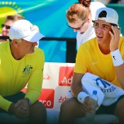 Thanasi Kokkinakis (R) discusses tactics with Australian captain Wally Masur during the first rubber of the Australia v Kazakhstan Davis Cup World Group quarterfinal in Darwin; Getty Images