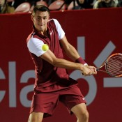 Bernard Tomic in action during his second-round victory over Adrian Menendez-Maceiras at the Claro Open Colombia in Bogota; Press Office ATP 250 Claro Open Colombia